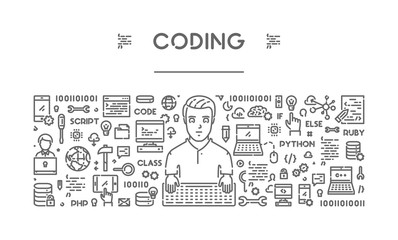 Line web banner for coding and programming