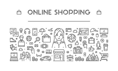 Modern line web banner for online shopping