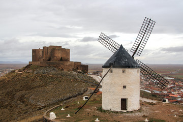 Windmills in the town of Consuegra. Spain