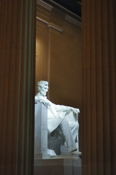 Statue of US President Abraham Lincoln inside the Lincoln Memorial, Washington D.C.