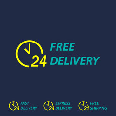 Free delivery symbol with 24 hours clock. Fast delivery, express delivery or free shipping labels. Vector delivery background.