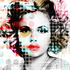 The poster with a portrait of a beautiful girl in the style of contemporary art..