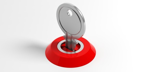 Key and lock on white background. 3d illustration