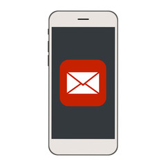 Mobile phone with Envelope, mail icon on the screen.