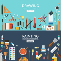 Drawing and painting. Fine art and creative process conceptual banners. Art supplies, stationery - palette, brushes, pens, pencils, paints, watercolor etc. Flat vector background illustrations