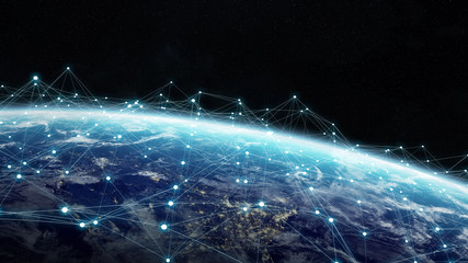 Data exchange and global network over the world 3D rendering
