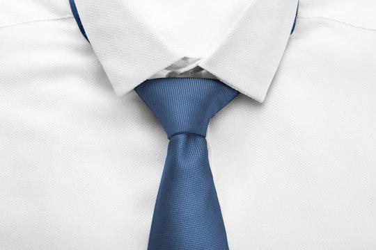 New man shirt with tie, closeup