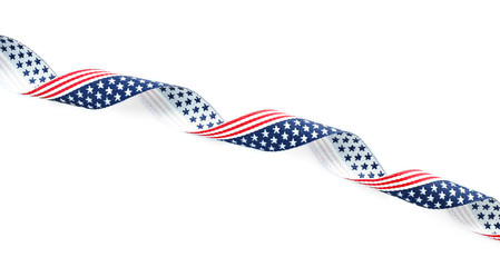 Ribbon with USA flag on white background