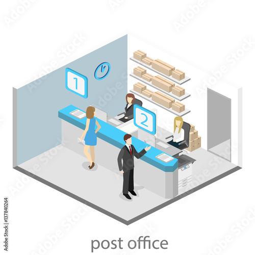 isometric flat 3d interior of post office fichier vectoriel libre de droits sur la banque d. Black Bedroom Furniture Sets. Home Design Ideas