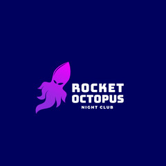 Rocket Octopus or Squid Abstract Vector Sign, Emblem or Logo Template. Creative Concept on Dark Blue Background