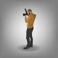 Professional man photographer paparazzi with big camera lens. Color vector illustration.