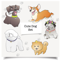 Vector of cartoon dogs. Different dog breeds isolated with pawprint