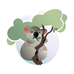 Cartoon scene of cute koala eating green leaves on tree