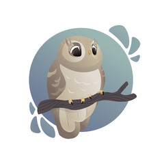 Vector cartoon art. Forest animals. Beautiful owl sitting on branch