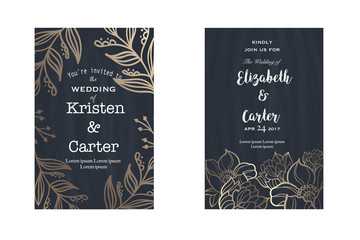Set of wedding card invitation flyer pages in old style