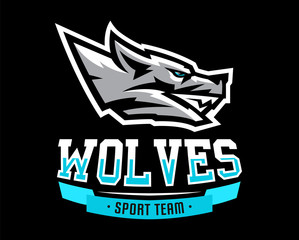 Vector illustration, logo, identity for the sports club, society, grin of aggressive wolf, a predator ready to attack. Sporty and dynamic style, font, printing on T-shirts