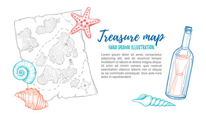 Hand drawn vector illustration - treasure map with sea shells, starfish and bottle. Design elements in sketch style. Perfect for invitations, greeting cards, posters, prints, banners, flyers etc