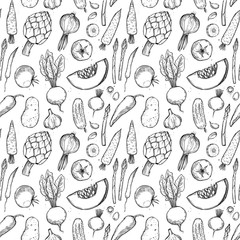 Hand drawn vector seamless pattern -  vegetables (carrots, potatoes, tomatoes, asparagus, artichoke).Design elements in sketch style. Perfect for invitations, greeting cards, posters, packing, textile