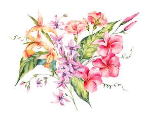 Watercolor vintage floral tropical card