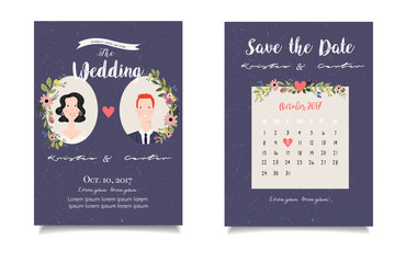 Portait of brunet bride and redhaired groom on purple background