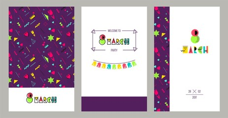 8 march international women`s day invitation cards in 80s memphis style.  Hipster poster, juicy, bright color background. Vector illustration