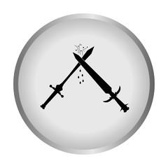 Ancient sword on a gray background. Battle swords. Vector illustration