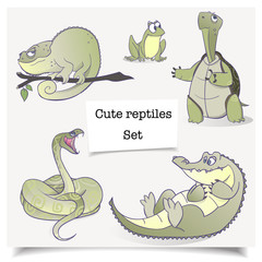 Vector illustration. Hand-drawn animals. Set of cartoon reptiles collections