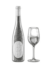 Wine bottles and glass