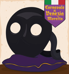 Traditional Moretta Mask over Display Pillow for Venice Carnival, Vector Illustration