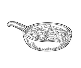 Chili con carne in pan - mexican traditional food. Vector engraving