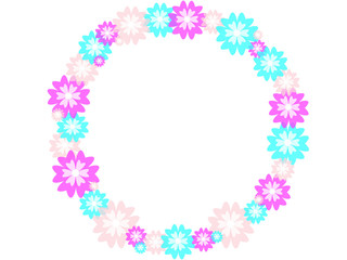 Flowers circle on a white background. Vector illustration.