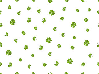 Clover seamless pattern. Green leaves on a white background. Vector illustration