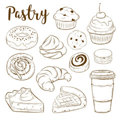 Vector set with pasty goods. Baked tasty food and coffee. Design elements, sketch illustrations. Cupcake, pie, cinnamon roll, bun, croissant, muffin, cookie