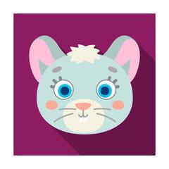 Mouse muzzle icon in flat style isolated on white background. Animal muzzle symbol stock vector illustration.