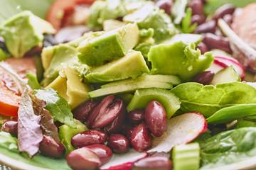 Fresh green salad close up