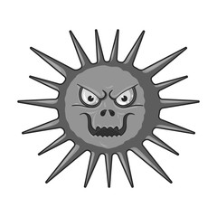 Gray virus icon in monochrome style isolated on white background. Viruses and bacteries symbol stock vector illustration.