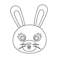 Rabbit muzzle icon in outline style isolated on white background. Animal muzzle symbol stock vector illustration.