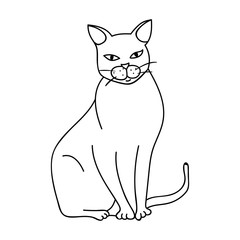 Chartreux icon in outline style isolated on white background. Cat breeds symbol stock vector illustration.