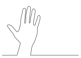 continuous line drawing of hand waving gesture