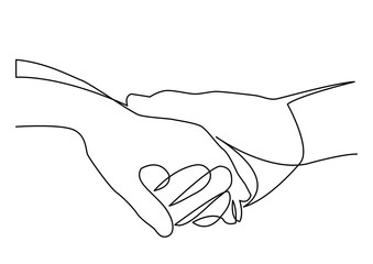 continuous line drawing of holding hands together