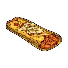 Enchilada - mexican traditional food. Vector black vintage engraved illustration