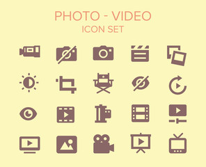 photo and video Icon set
