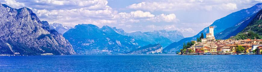 Beautiful scenery of Lago di Garda with view of Malcesine town. Italy Wall mural