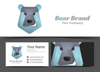 Bear Head Corporate Logo and Business Card Sign Template. Creative Design with Colorful Logotype Visual Identity Composition Made of Multicolored Element. Vector Illustration