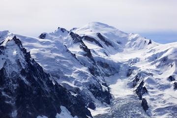 Aiguille du Midi (3,842m) left and Mont Blanc (4,810m) Haute Savoie, France, Europe, September 2008
