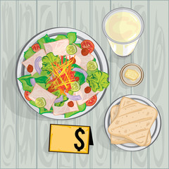 foods objects salad bread milk drink drawing graphic design template