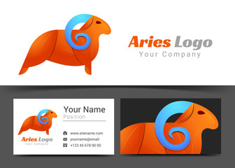 Emblem Aries Corporate Logo and Business Card Sign Template. Creative Design with Colorful Logotype Visual Identity Composition Made of Multicolored Element. Vector Illustration
