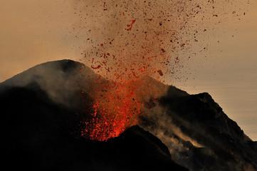 Lava erupting from Stromboli, Aeolian Islands, Italy, May 2009