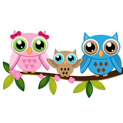 Wall Murals Birds, bees two owls with baby on a branch