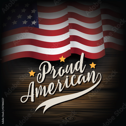 Proud American Rustic USA Flag Design The United States On A Wood Background